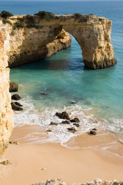 Portugal,Barlavento,View of coast cliffs with sea