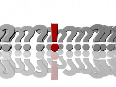 Exclamation mark and questions, answers or FAQ concept