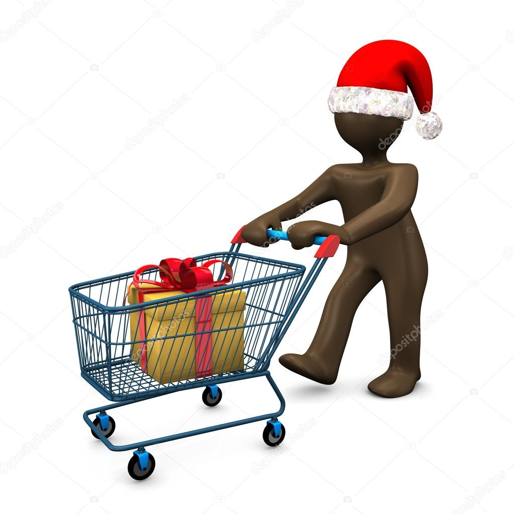 3D Illustration, Brown figurine with christmas hat, shopping, pr