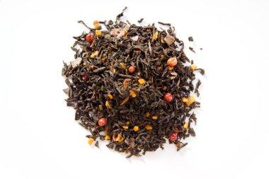 Black tea with honey cake, cocoa, cinnamon, pink peppercorns