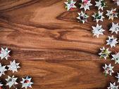 Vánoce, hvězdy, pozadí dřeva, kopie prostor