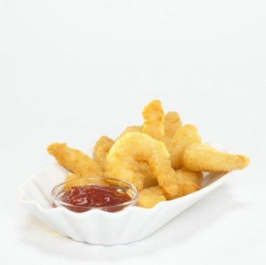Fried prawns with dip,