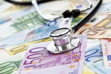 Stethoscope on euro notes