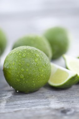 Slices of limes, close up