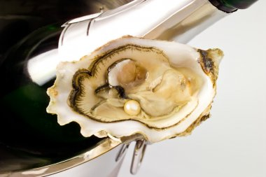 Oyster with pearl and champagne bottle