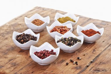 Different spices in bowls