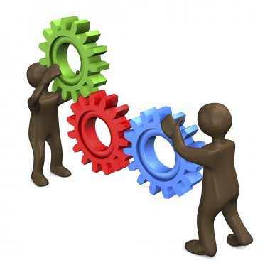Teamwork colored gears