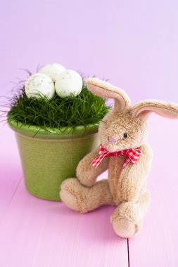 Soft toy bunny with Easter eggs