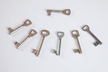 Many keys on white