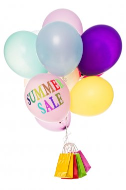 Colorful balloons, bags and text summer sale stock vector