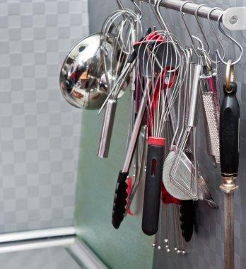 Kitchen utensils on the wall