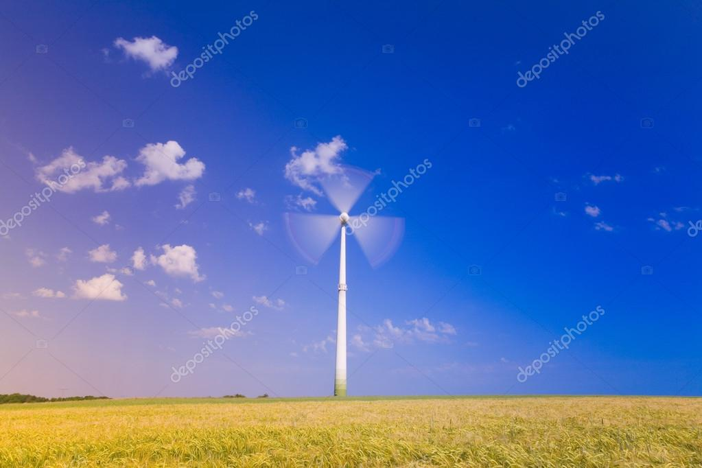 wind wheels on blue sky background