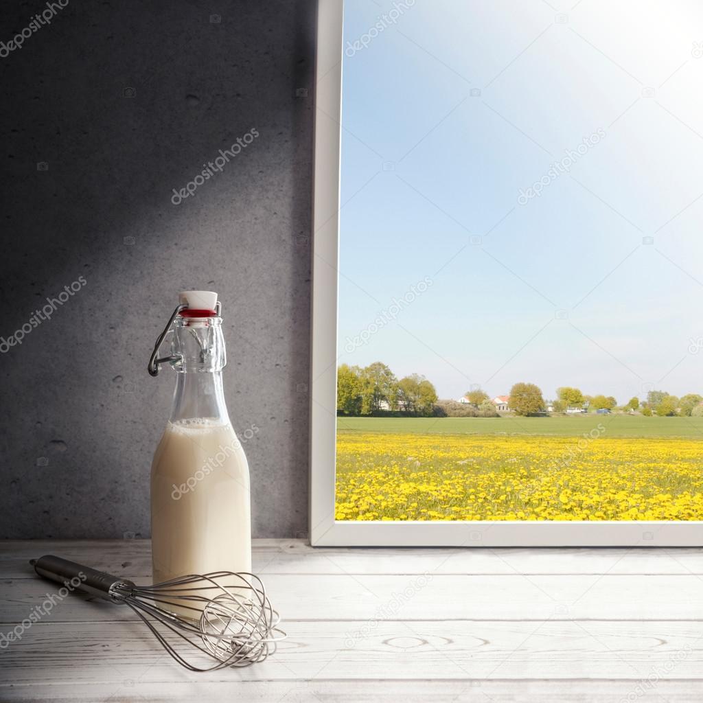 Fresh milk on window