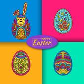 Fényképek Készlet három húsvéti tojás és a fehér húsvéti nyúl. Modern anyagi háttér, hátul. Vektoros illusztráció