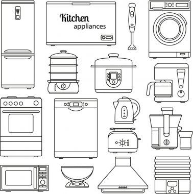Set of line icons. Kitchen appliances. Oven and toaster, fridge and freezer, stove and dishwasher. Contour icons. Info graphic elements. Simple design. Vector illustration