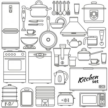 Set of line icons. Kitchen appliances and accessories. Oven and saucepan, fridge and teapot, stove and kettle. Contour icons. Info graphic elements. Simple design. Vector illustration.