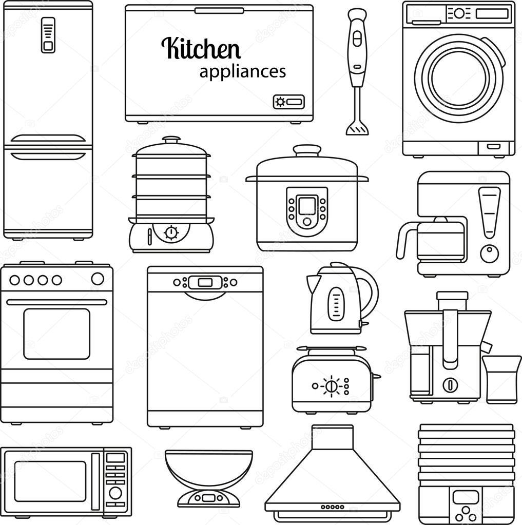 Simple Kitchen Appliances: Set Of Line Icons. Kitchen Appliances. Oven And Toaster