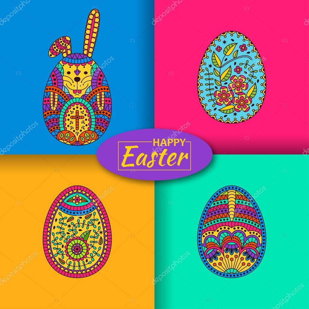 Set of three Easter eggs and white easter rabbit. Modern material background at the back. Vector illustration.