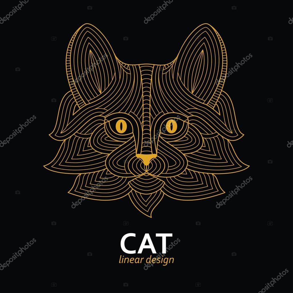 Creative stylized cat head in ethnic linear style. Good for logo, tattoo, t-shirt design. Animal background. Highly detailed abstract hand drawn style. Vector illustration