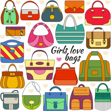 Set of line icon. Different women bags and place for your text. Colorful contour icons. Info graphic elements. Simple design. Vector illustration, eps 10.