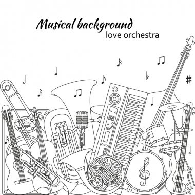 Musical background made of different musical instruments, treble clef and notes. Black and white colors. Set of line icons in music theme. Good for coloring books. Vector illustration.