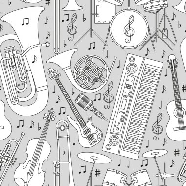 Musical seamless pattern made of different musical instruments, treble clef and notes. Black and white colors. Set of line icons in music theme. Good for coloring books. Vector illustration.