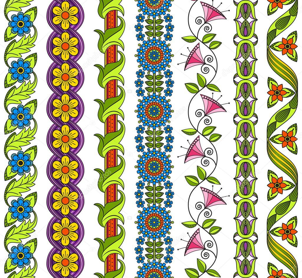 Vector set of floral elements for ethnic decor. Seamless patterns for frames, borders and backgrounds. Detailed decorative motifs. Bright colors.