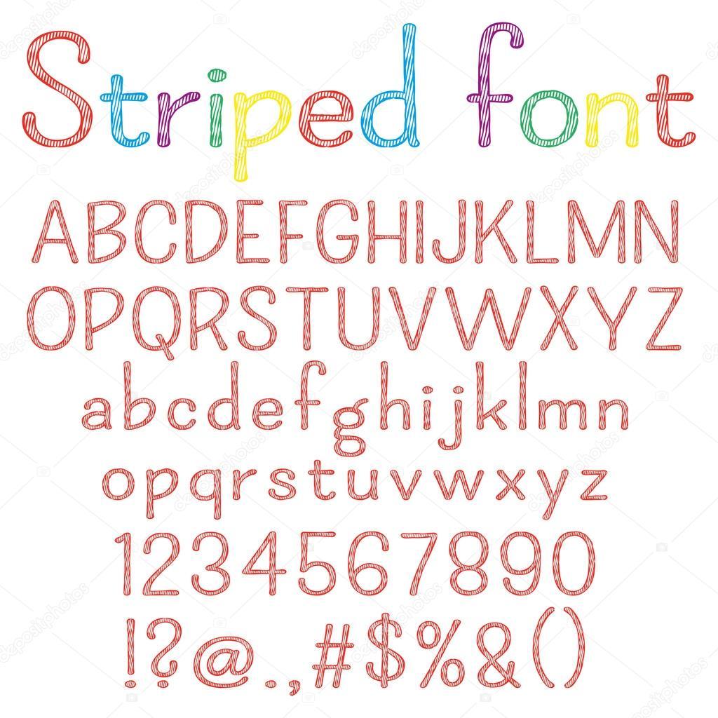 Spriped Schriftart. Alphabet, Zahlen, Satzzeichen. Ein Brief, eine ...