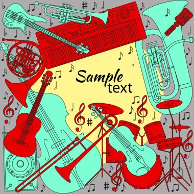 Musical background with different musical instruments, treble clef and notes. Red, yellow, turquoise and gray colors. Set of line icons in music theme. Text place. Vector illustration