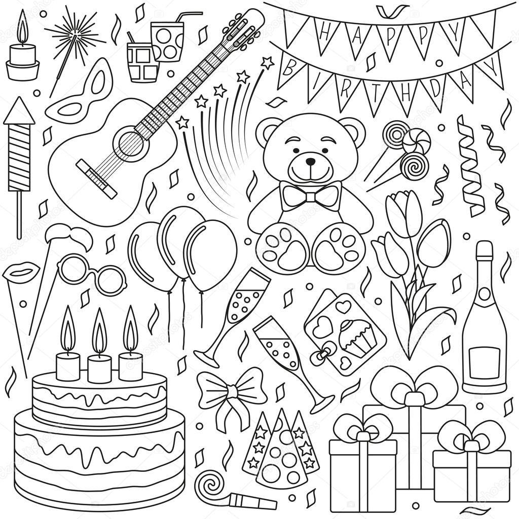 Set of black line icons happy birthday and party events good set of black line icons happy birthday and party events good elements for banners invitation cards anniversaries etc linear design vector outline stopboris Image collections