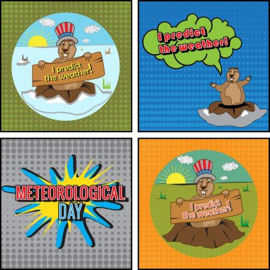Cards for Meteorological Day. Groundhog predict the weather. Congratulations to the end of winter and beginning of spring. Comics set.  Vector illustration. clip art vector