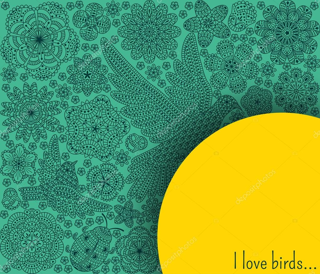 Romantic background with flowers birds and ladybug decorative dove romantic floral pattern good for invitation cards banners flyers turquoise and yellow colors vector illustration vetor por klerik78 stopboris Image collections