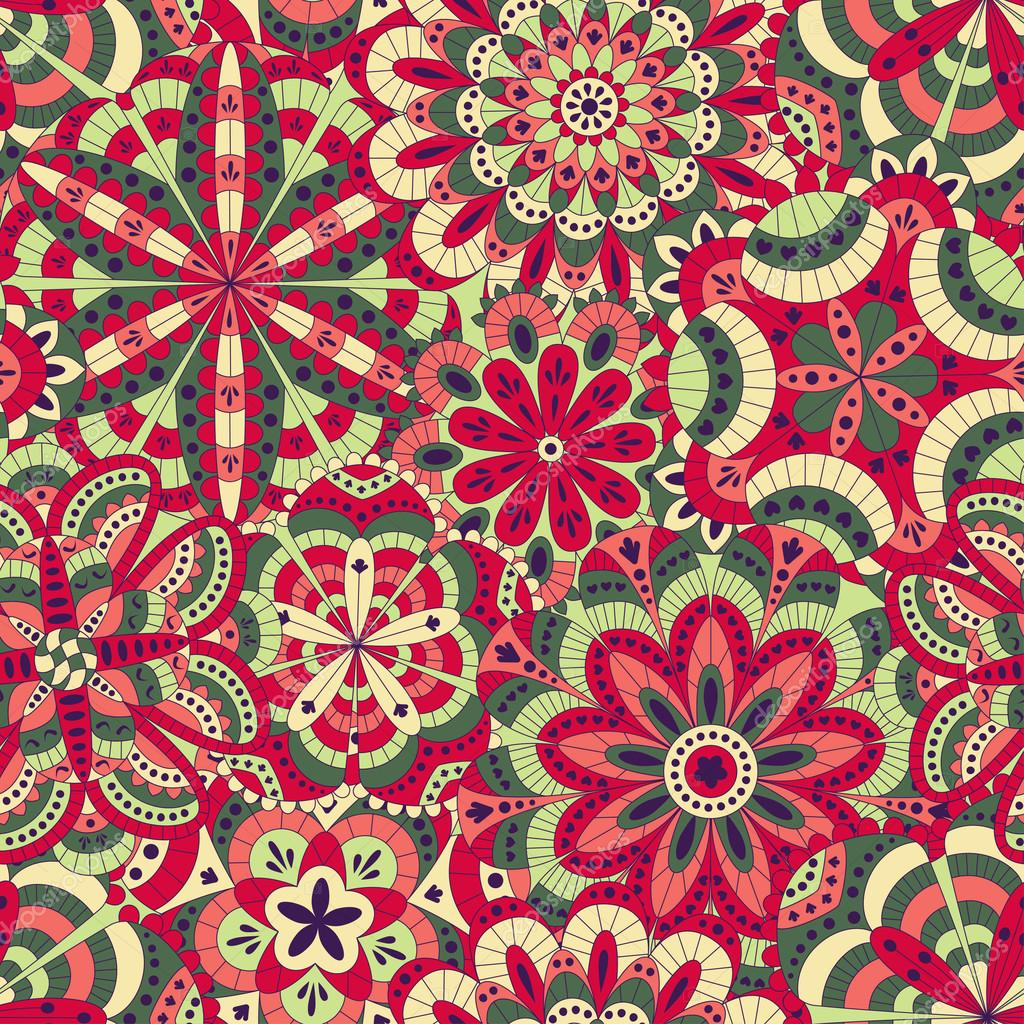 Floral background made of many mandalas. Seamless pattern. Good for weddings, invitation cards, birthdays, etc. Creative hand drawn elements. Vector illustration.