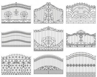 Forged gates set.  Decorative metal gates with swirls, arrows and ornaments. Linear design. Vector outline illustration isolated on white.
