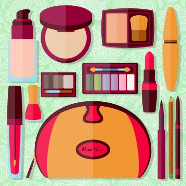 Flat icons collection. Decorative cosmetics for face, lips, skin, eyes, nails, eyebrows and beautycase. Make up set. Vector illustration.