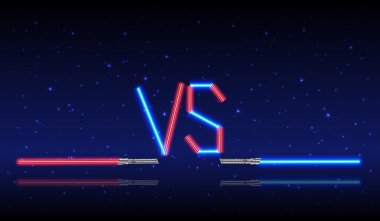 Blue and red Neon Versus Logo.