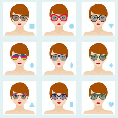 Female face shapes set. Nine icons. Girls with blue eyes, red lips and brown hairs. Glasses suitable for different women. Colorful vector illustration.