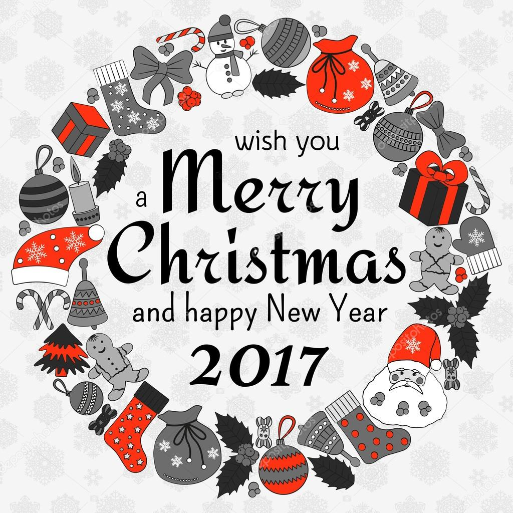 Christmas Greeting Card With Text Wish You A Merry Christmas And