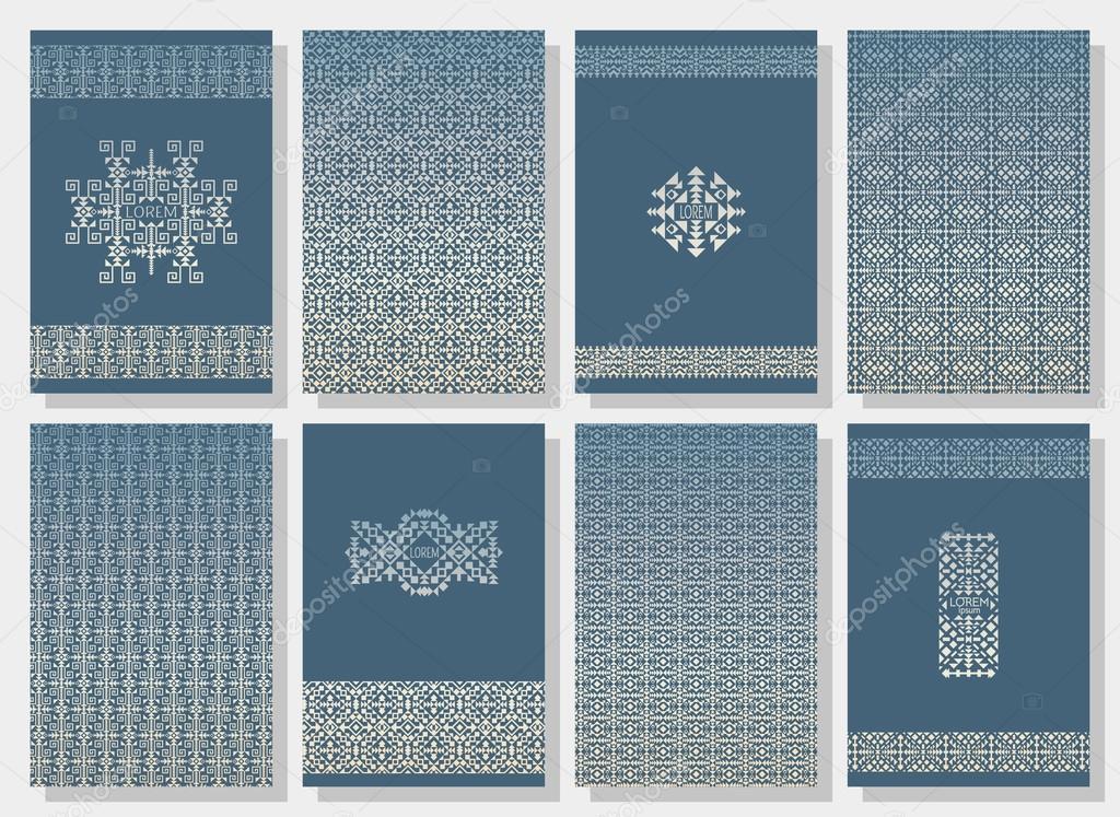 Arredamento Etnico Indiano : Set di cartoline invito tribale strisce in stile etnico indiani