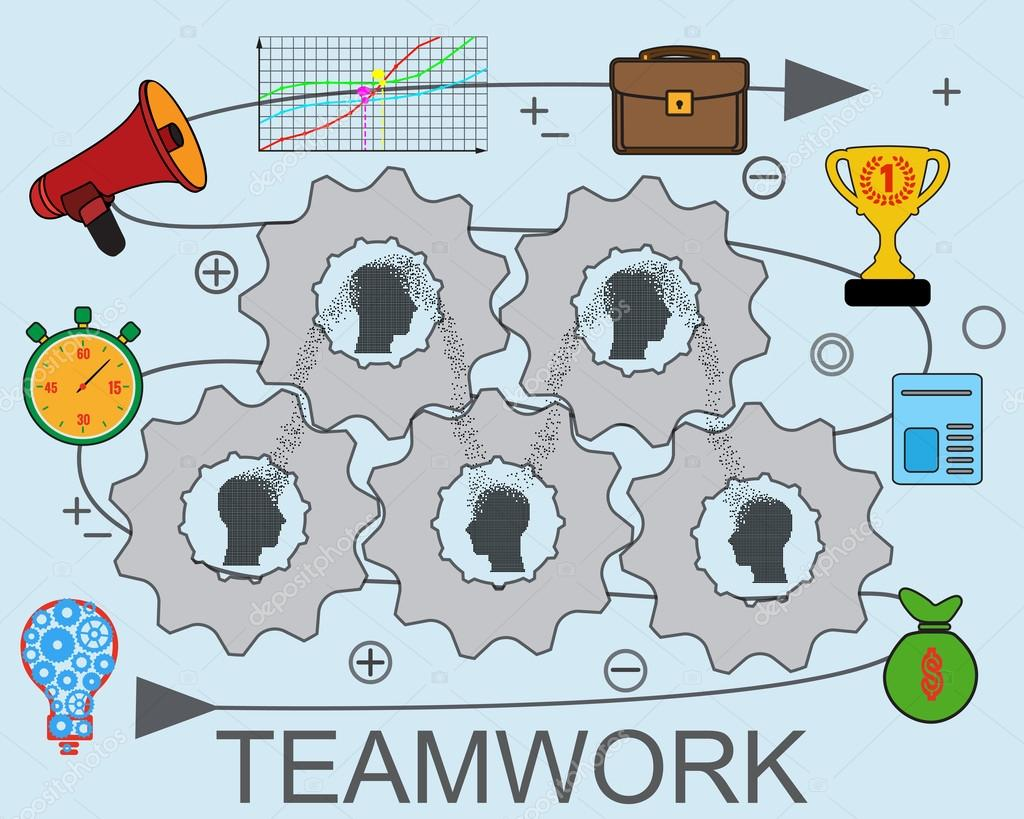 teamwork and collaboration business concept with silhouette particle