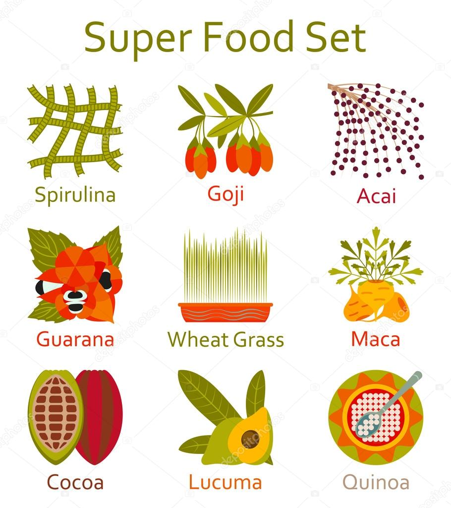 Super food icons set. Vector illustration.