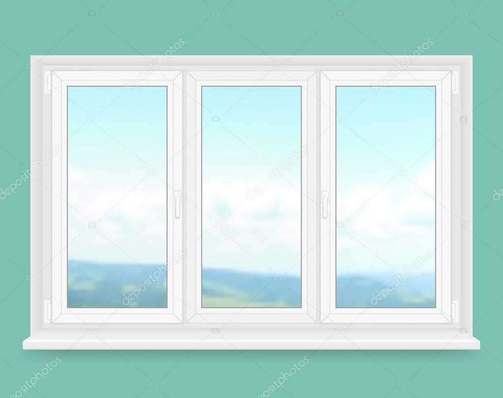 Realistic white plastic window with landscape view. Vector illustration.