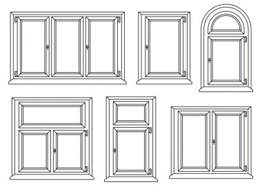 Plastic windows icons set. Vector illustration.