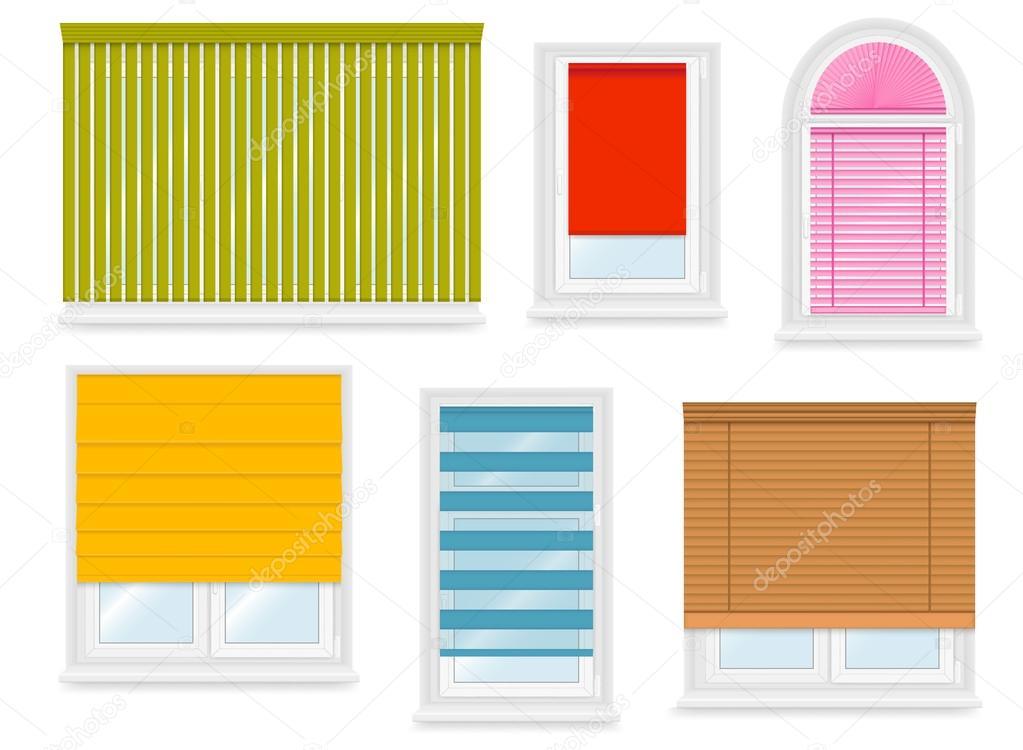 fen tres en pvc blancs r alistes sertie de diff rents stores illustration vectorielle image. Black Bedroom Furniture Sets. Home Design Ideas