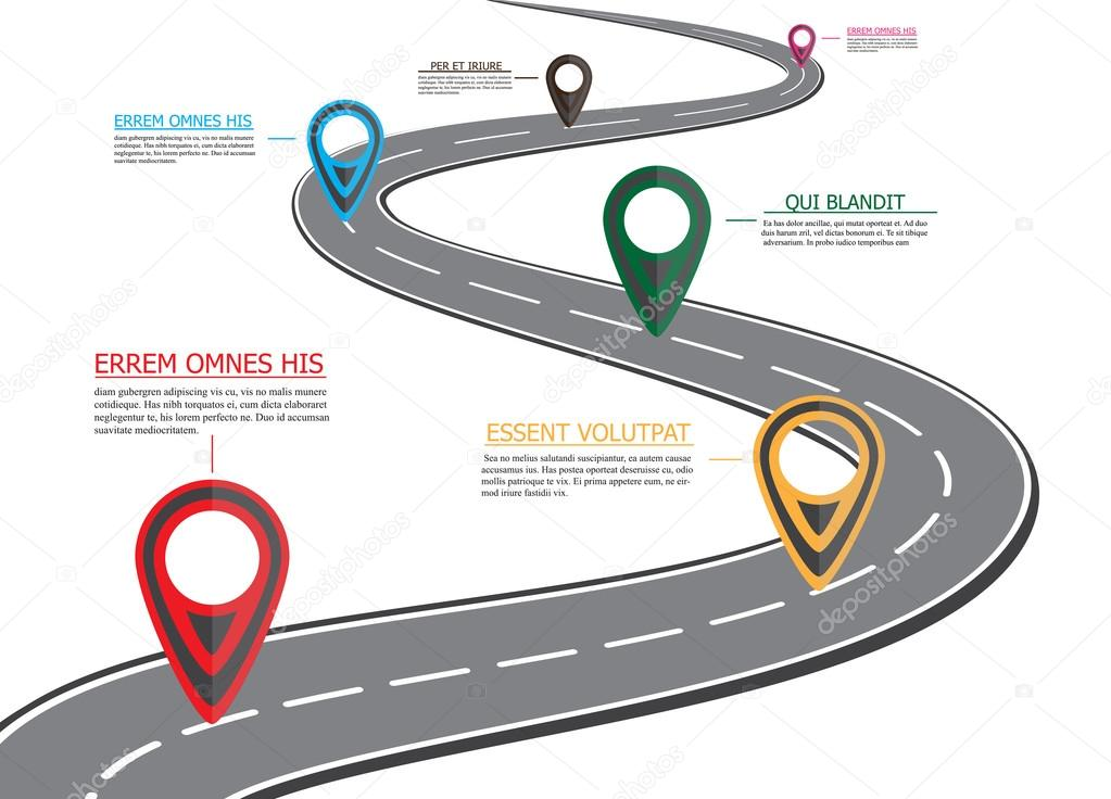 Street Road Map ,business Infographics With Colorful Pin Pointer