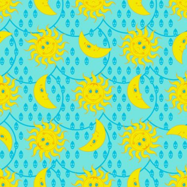 Funny weather pattern with sun and moon