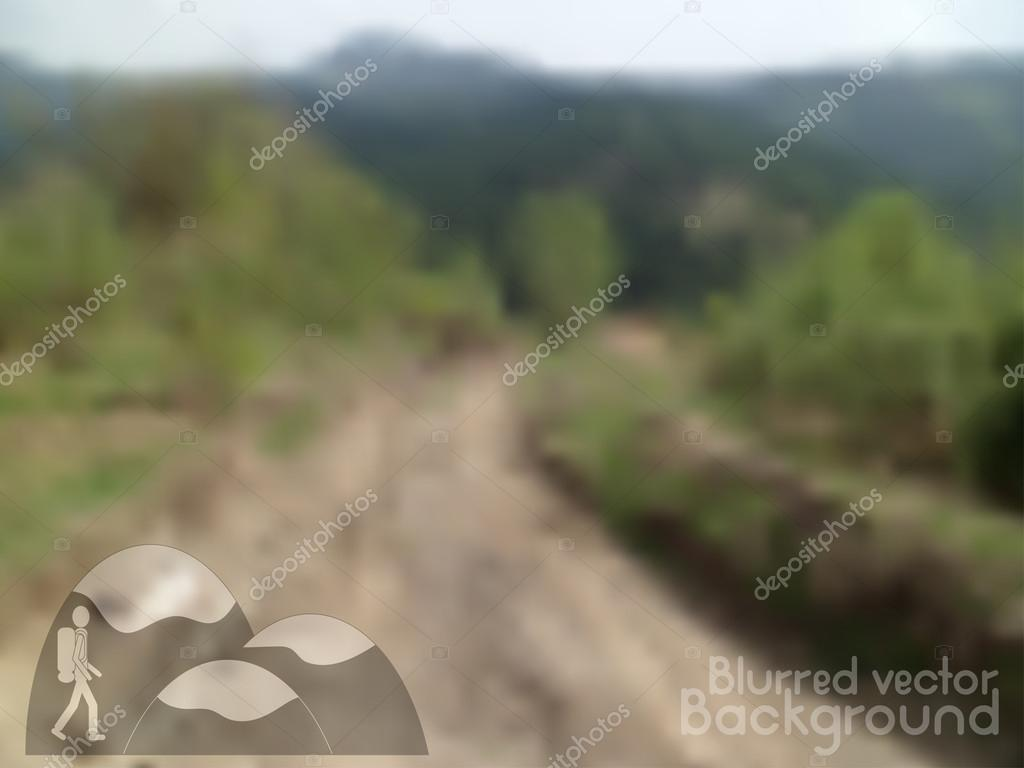Vector nature blurred unfocused background. Road in the mountains. Hiking icon.