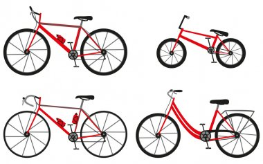 Four kinds of bicycles: mountain (or cross-country) bike, road bike, city bike and bmx bike. Vector illustration.