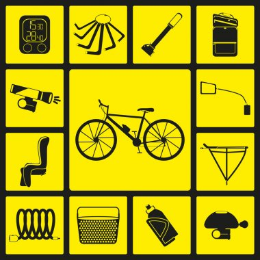 Set of black silhouette icons of bicycle accessories. Thirteen bike icons, infographic elements. Vector illustration. Bicycle set number two.