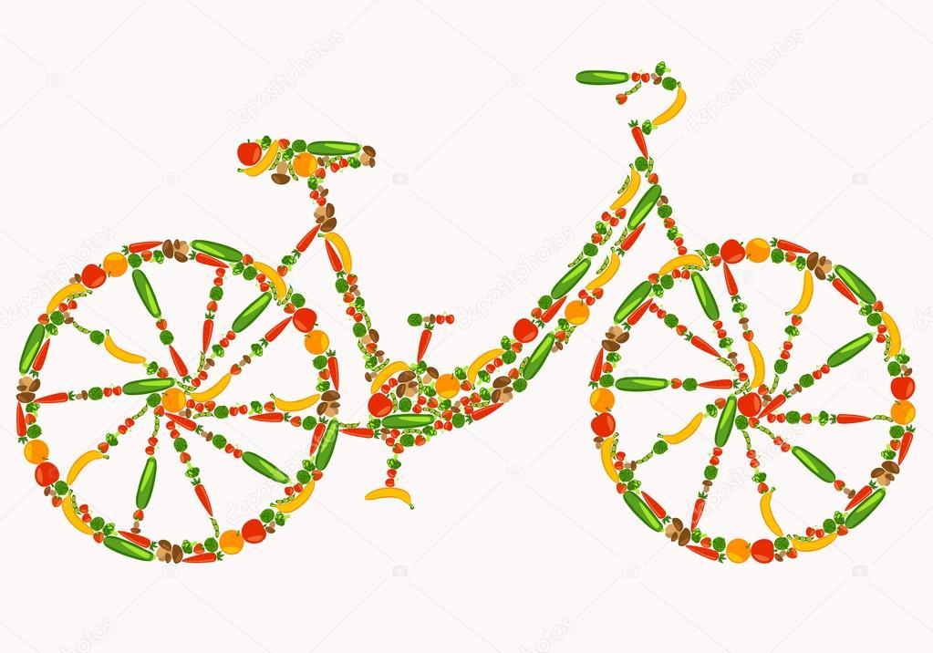 Vegan-Fahrrad. Gesundes Leben. Schönen Hintergrund mit Obst, Gemüse ...
